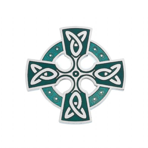 Celtic Cross Head Brooch Green Silver Plated Brand New Gift Packaging